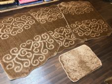 ROMANY GYPSY WASHABLE HEART DESIGN SET OF 4 MATS XLARGE SIZE 100X140CM DK BEIGE